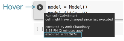 Execution Time by hovering on run cell