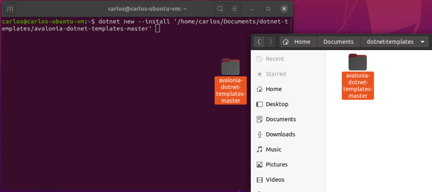 Drag and drop folder to the terminal