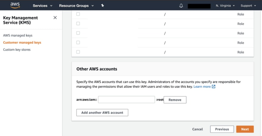 AWS KMS Customer Managed Keys Screenshot