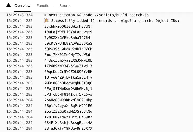 A screenshot of the output of build-search.js in the Vercel logs output UI.