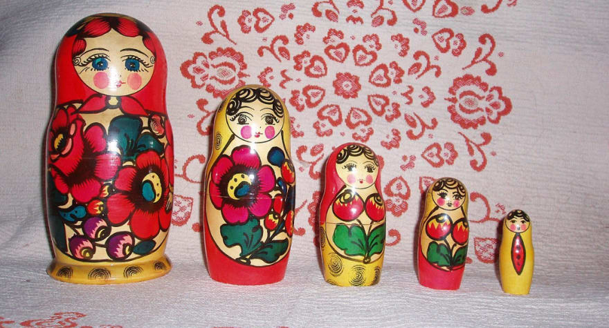 The classic Russian Matryoshka dolls, in decreasing size, can be nested in one another.