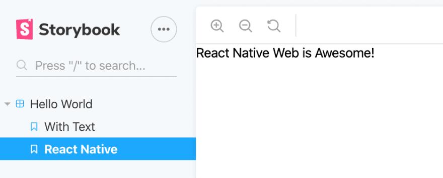 React native web app storybook