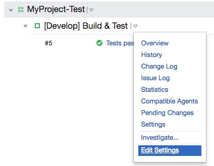 build configuration settings