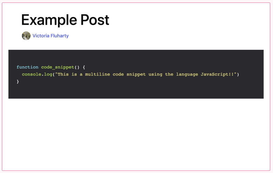 example of using a multiline code snippet with JavaScript displayed in preview mode