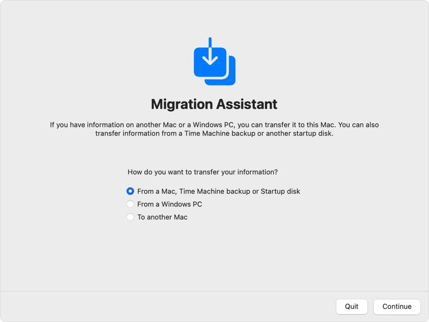 Apple Migration Assistant Screenshot