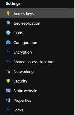 Azure Storage connection string settings