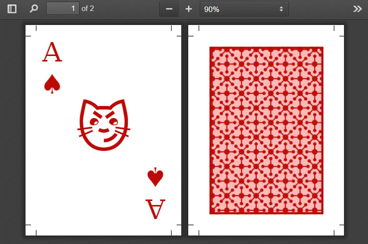 Current result of the joker card with the page margin boxes still filled with the ace of spades content.