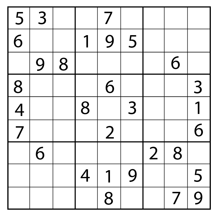 "Sudoku board. It's a 9x9 square, and some boxes have numbers, others are blank. If written as a 2D array, it'd be: `[<br>     [""5"", ""3"", ""."", ""."", ""7"", ""."", ""."", ""."", "".""],<br>     [""6"", ""."", ""."", ""1"", ""9"", ""5"", ""."", ""."", "".""],<br>     [""."", ""9"", ""8"", ""."", ""."", ""."", ""."", ""6"", "".""],<br>     [""8"", ""."", ""."", ""."", ""6"", ""."", ""."", ""."", ""3""],<br>     [""4"", ""."", ""."", ""8"", ""."", ""3"", ""."", ""."", ""1""],<br>     [""7"", ""."", ""."", ""."", ""2"", ""."", ""."", ""."", ""6""],<br>     [""."", ""6"", ""."", ""."", ""."", ""."", ""2"", ""8"", "".""],<br>     [""."", ""."", ""."", ""4"", ""1"", ""9"", ""."", ""."", ""5""],<br>     [""."", ""."", ""."", ""."", ""8"", ""."", ""."", ""7"", ""9""],<br>   ]`"