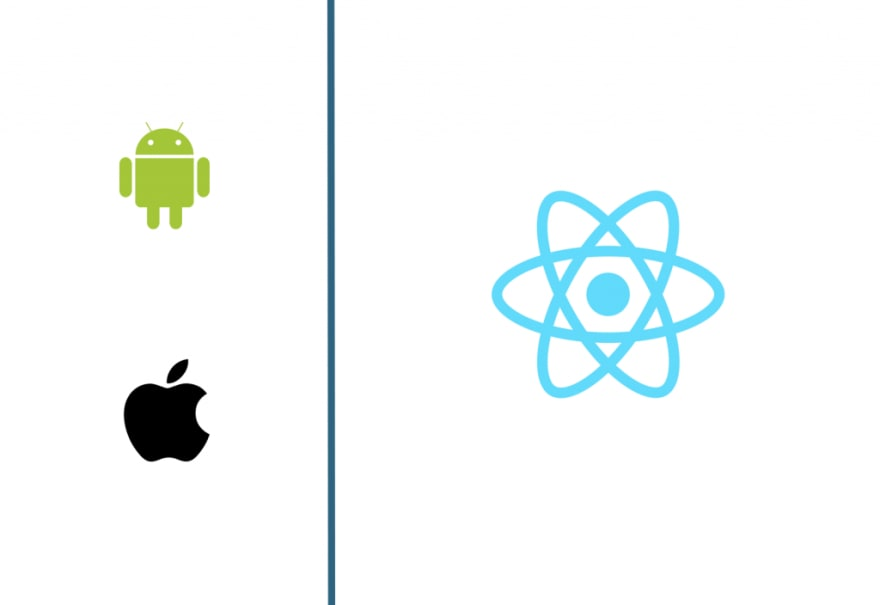 android and apple logo against react logo