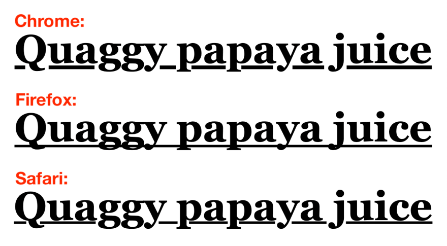 "A comparison of how the heading ""Quaggy papaya juice"" is underlined in Chrome, Firefox, and Safari"