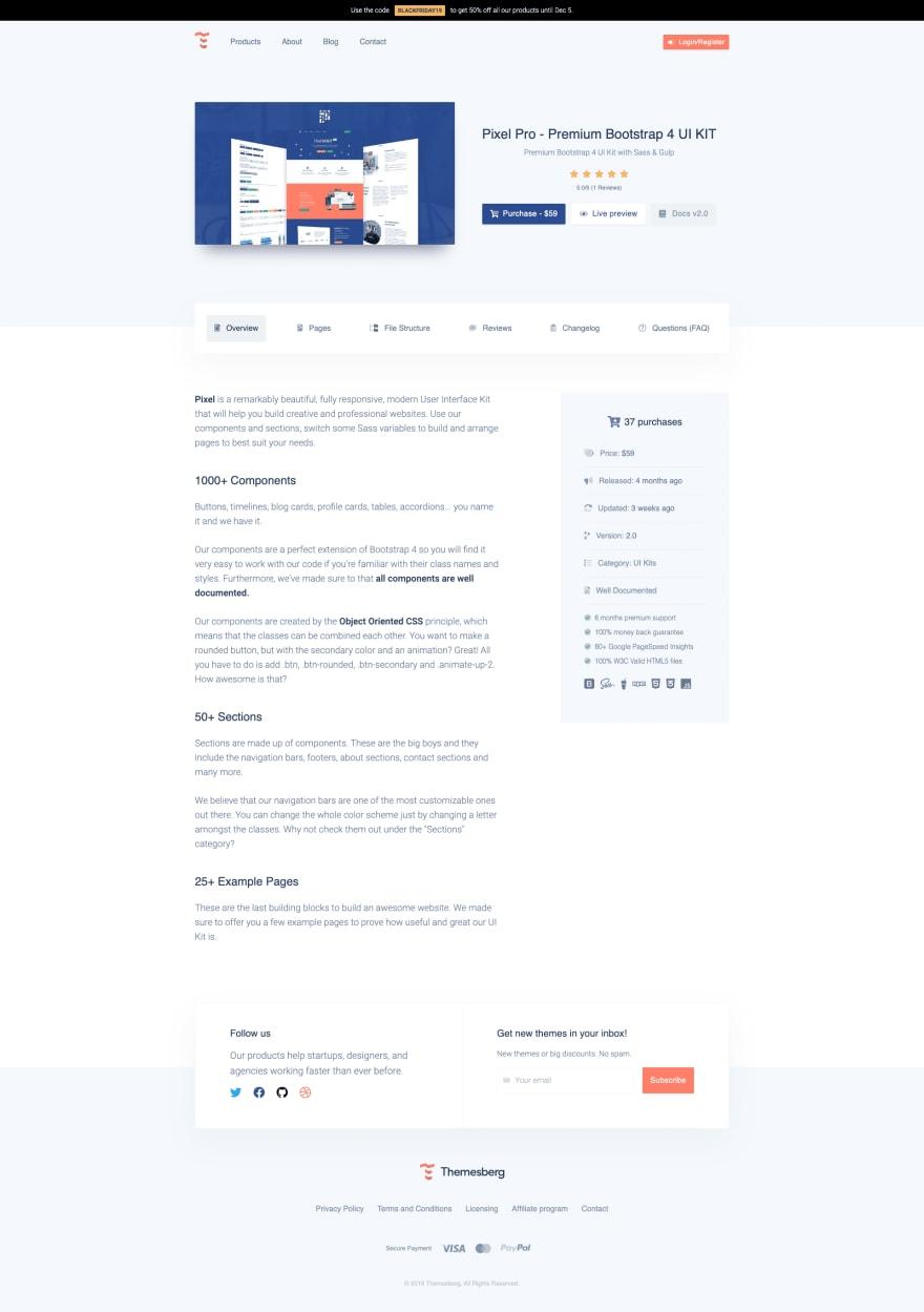 New Themesberg Product Page