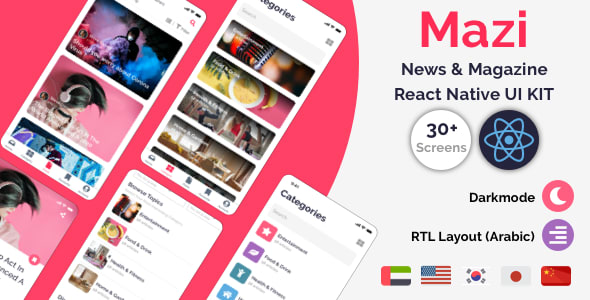 Mazi – News & Magazine for React Native mobile template