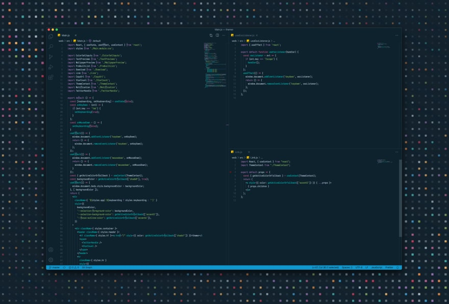 Screenshot of VS Code editor in a dark theme against a matching background image