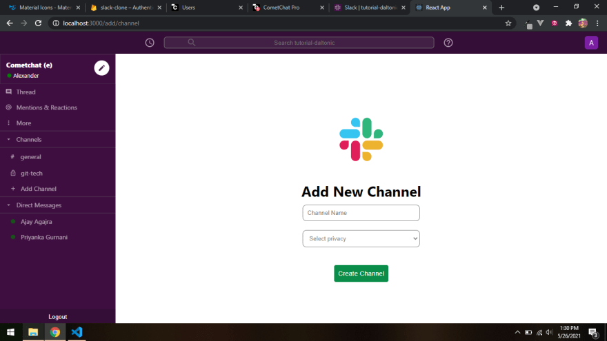 The Add Channel Component