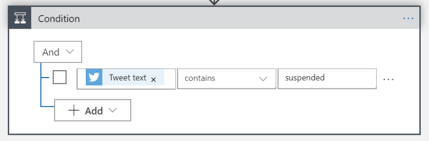 Screenshot of Condition action connector
