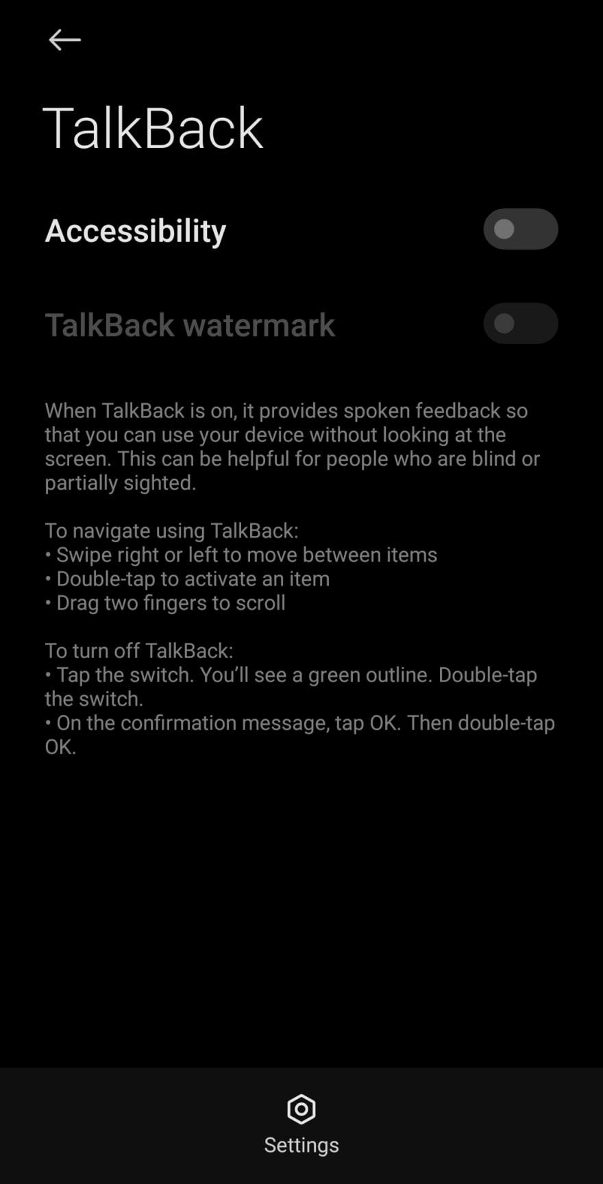 TalkBack is off