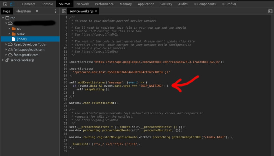 Print screen of service-worker.js on the Google Chrome browser