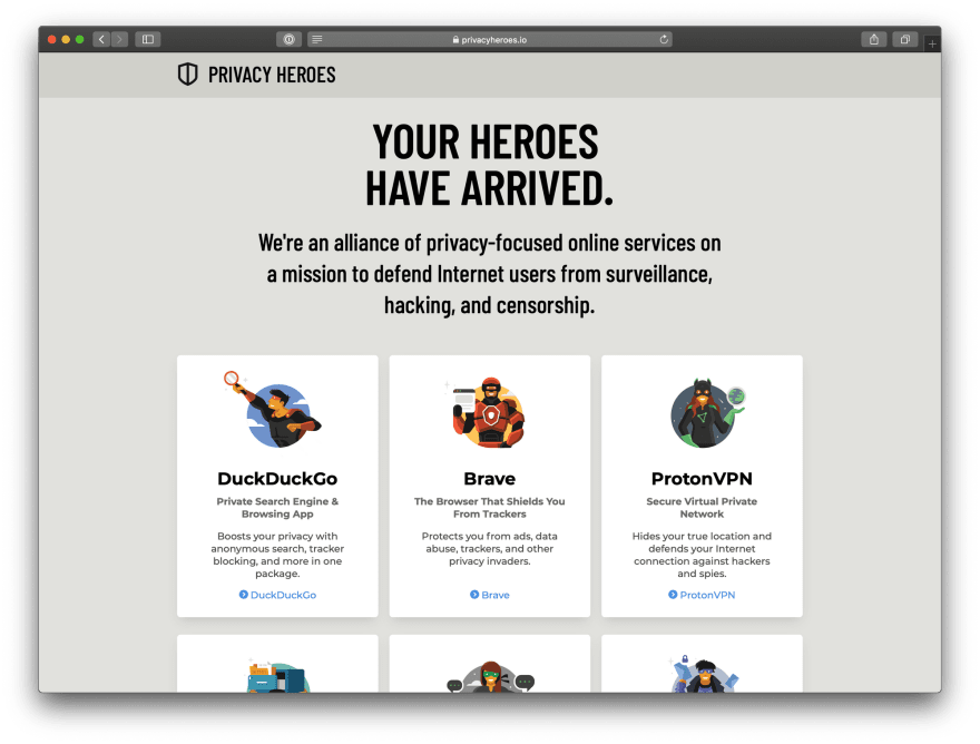 A screenshot of PrivacyHeroes.io. It features six privacy-centered companies depicted as superheroes.