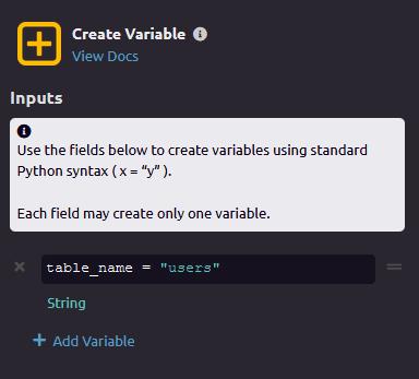 Create Variable module settings