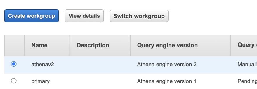 Athena Engine V2 workgroup