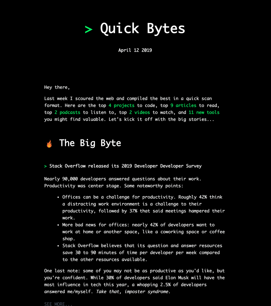 Quick Bytes newsletter sample