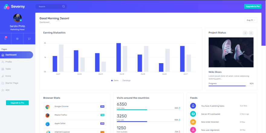 Severny Bootstrap Admin Lite - free dashboard with Material Design Lite.