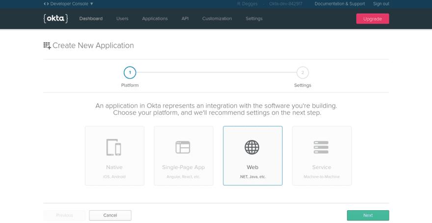 Okta create application page