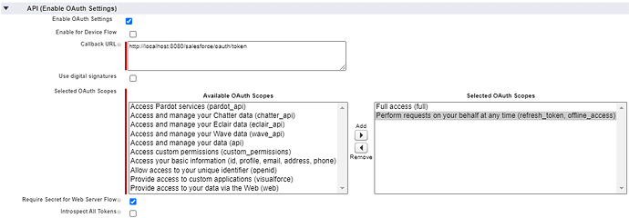 Enable OAuth settings page screenshot.