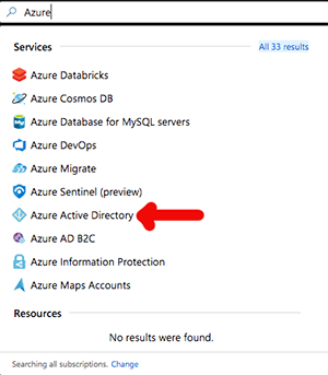 Search for Azure Active Directory