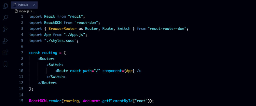 React code snippet with the Atlantic Night Abyss theme