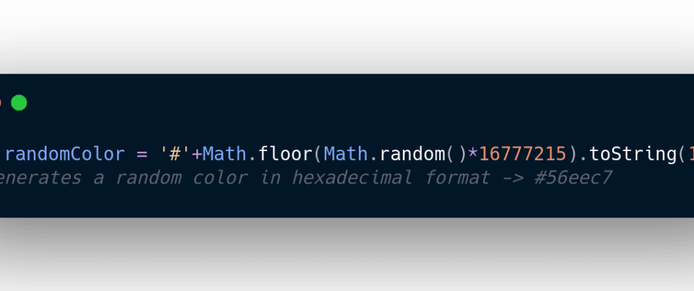 Cover image for Generating random color with single line of js code