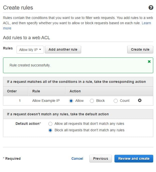 Example of default action page