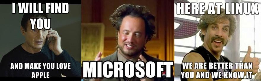 apple microsoft linux