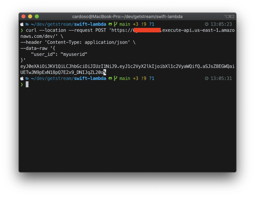 Image shows curl command running and a JWT output