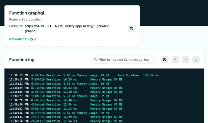 Netlify dashboard - function log