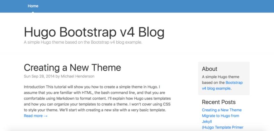 Hugo Bootstrap 4 Blog