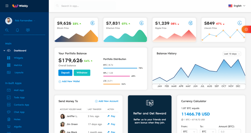 Wieldy: Ant Design and React Admin Template