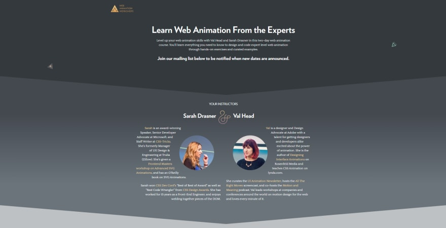 Screenshot of The Web Animation Workshop homepage