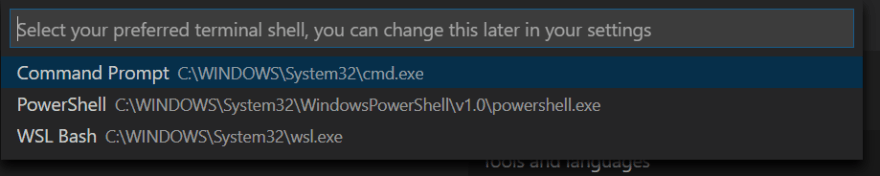 Select WSL Bash from the popup menu.
