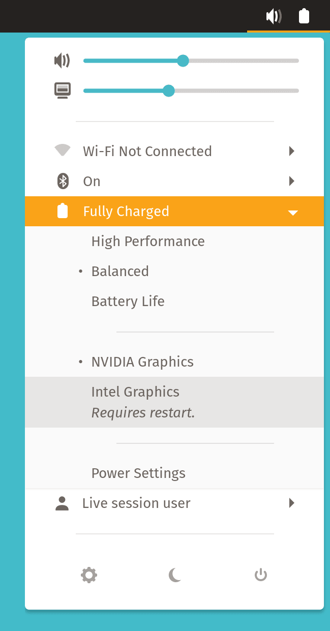 The power menu showcasing the option to switch the active GPU