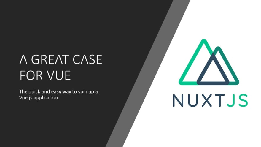 The Nuxt logo with the text, Nuxt a great case for vue. The quick and easy way to spin up a Vue.js application