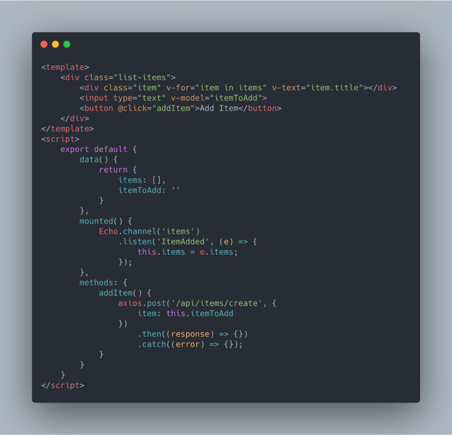 Code screenshot of an example Vue component with laravel-websockets