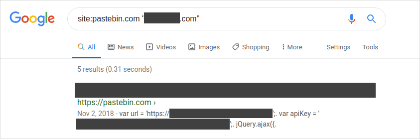 A screenshot of exposed api key in Google search