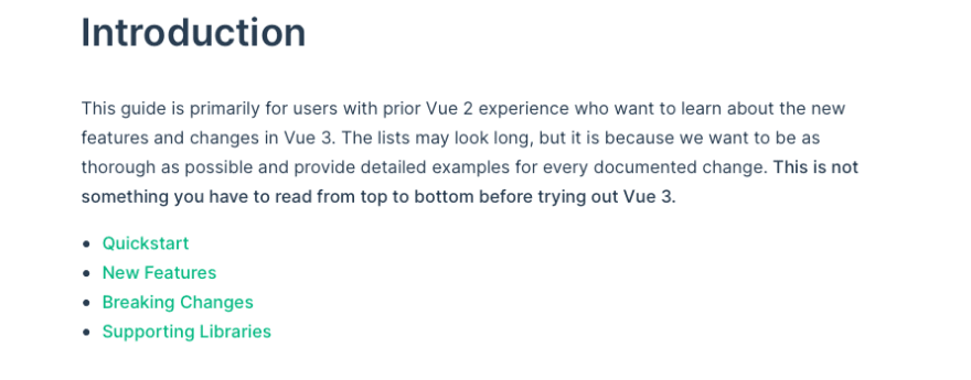 "Vue's ""thorough"" summary of its changes"