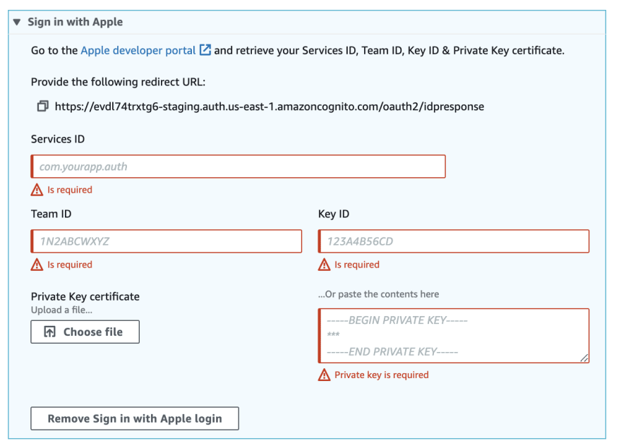 Admin UI Interface with Sign in with Apple
