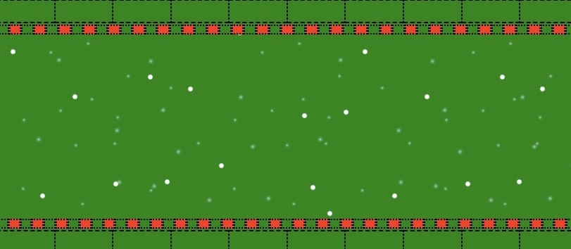 graphic to simulate a sweater. The background is green, snow is falling.