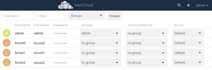 owncloud users list