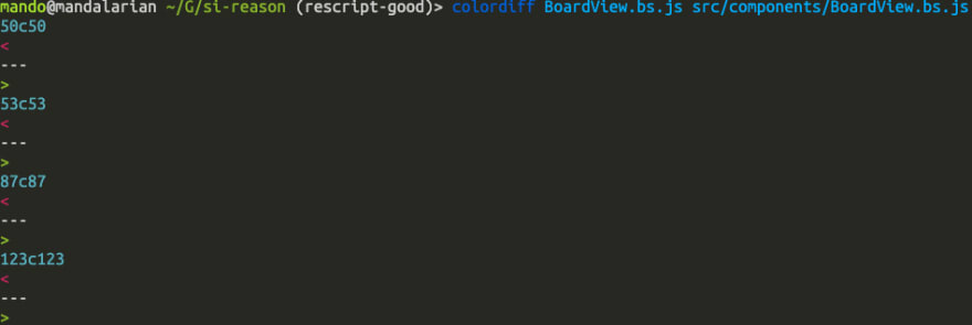 image of git diff showing the files are the same