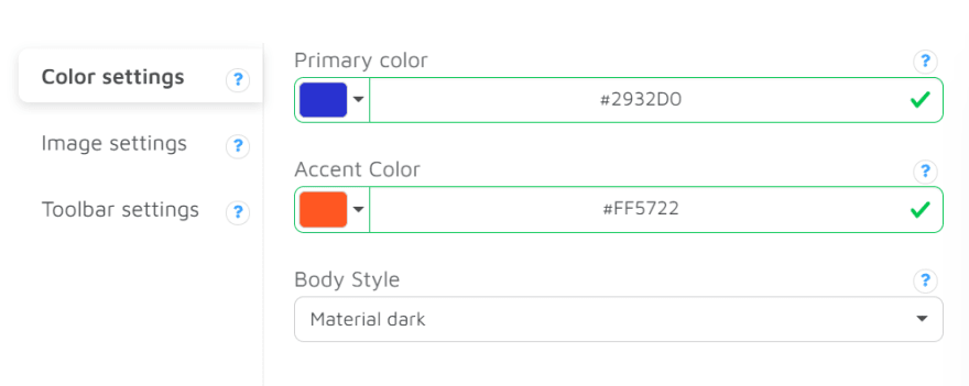 Andromo color settings