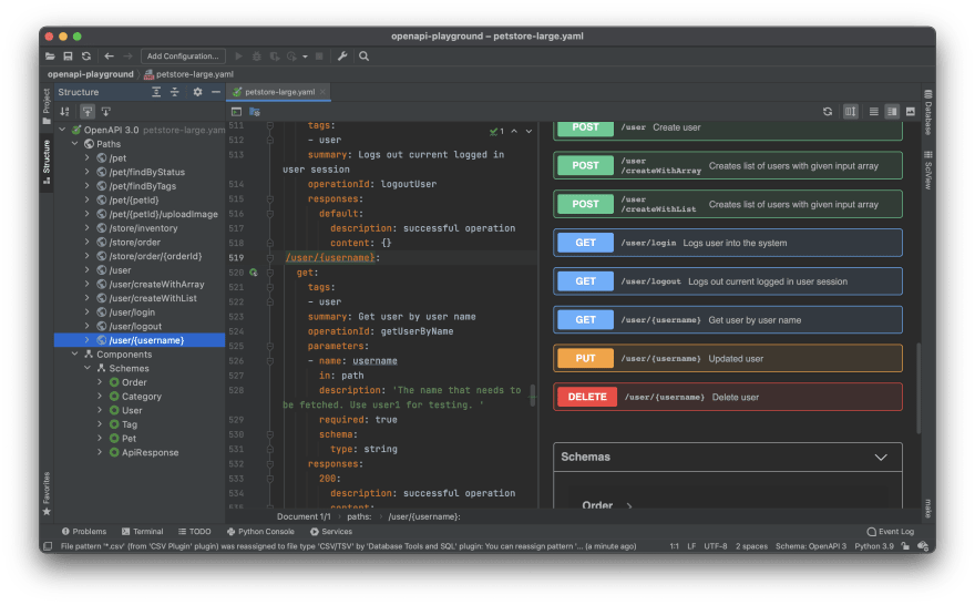OpenAPI editor from JetBrains in PyCharm
